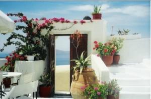 Our hotel overlooking caldera in Santorini Greece
