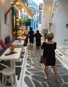 Charming alley-like streets of Mykonos, Greece