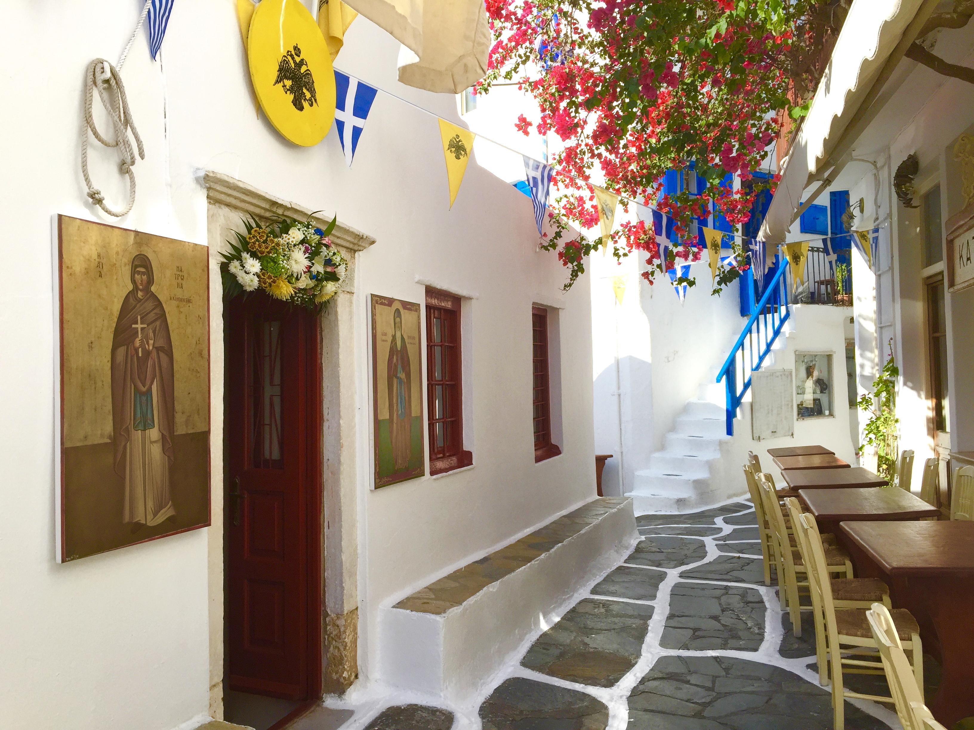 Winding streets of the Greek Island of Mykonos