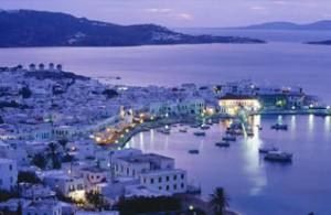 Mykonos, Greece at night