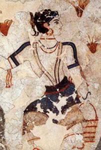 Greek Woman, Ancient wall fresco, Santorini, Greece