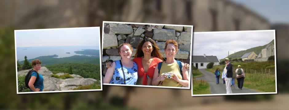 Enjoy a Vacation for Women | Women Hiking in Santorina Greece | Women travelers walking in Ireland on country roads